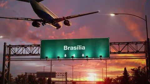 Airplane Landing Brasilia during a wonderful sunrise.Portuguese