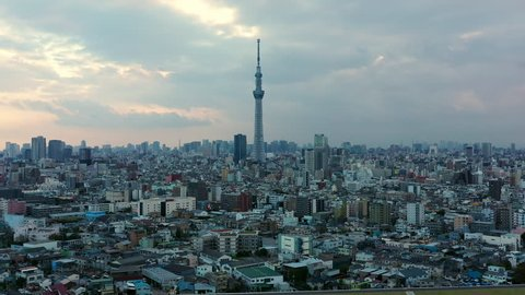 Tokyo Japan 10 Nov 2018 : Aerial view of Tokyo Skytree with Arakawa river and Tokyo city in background.Tokyo Skytree is a broadcasting, restaurant and observation tower in Sumida Japan.