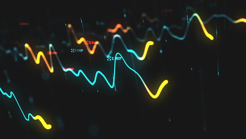 Animation growth of abstract charts with changing values of check points on dark background. Animation of seamless loop.   Shutterstock HD Video #1022110300