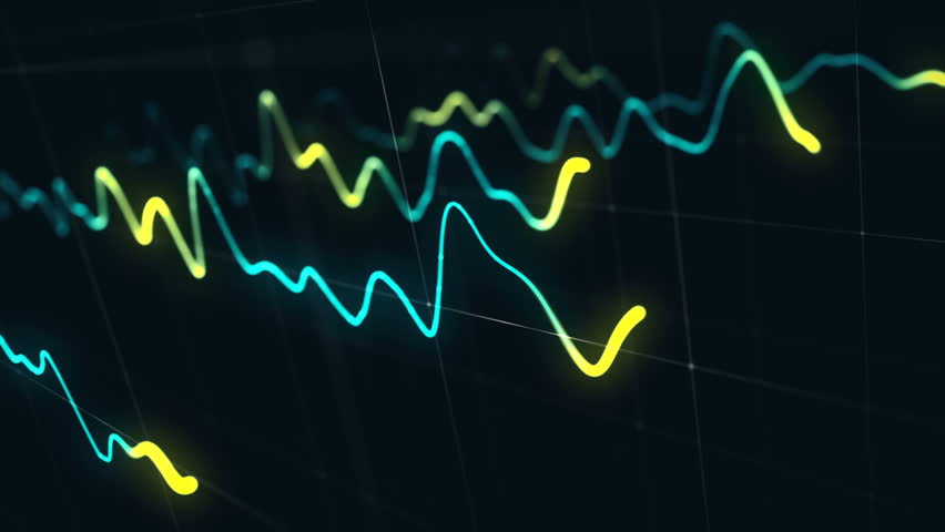 Animation growth of abstract charts with changing values of check points on dark background. Animation of seamless loop.   Shutterstock HD Video #1022110510