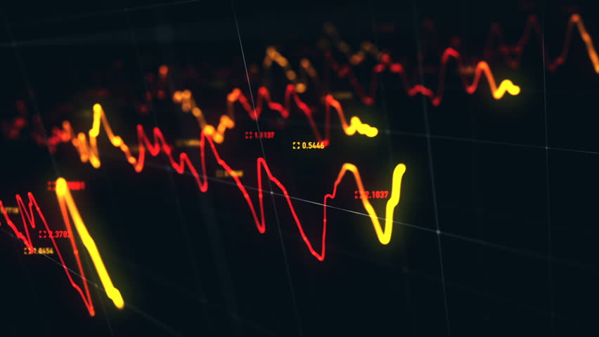 Animation growth of abstract charts with changing values of check points on dark background. Animation of seamless loop.   Shutterstock HD Video #1022110570