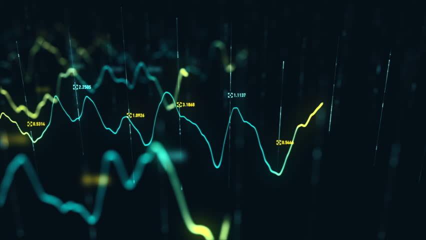 Animation growth of abstract charts with changing values of check points on dark background. Animation of seamless loop.   Shutterstock HD Video #1022110600