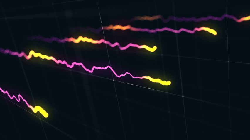 Animation growth of abstract charts with changing values of check points on dark background. Animation of seamless loop. | Shutterstock HD Video #1022110630