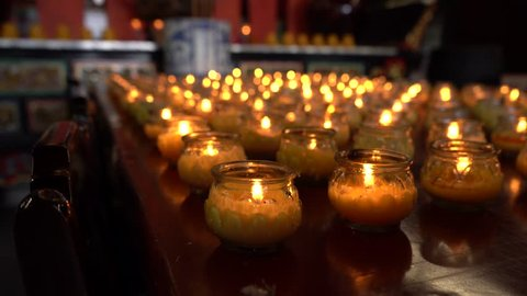 Buddhist candles in temple