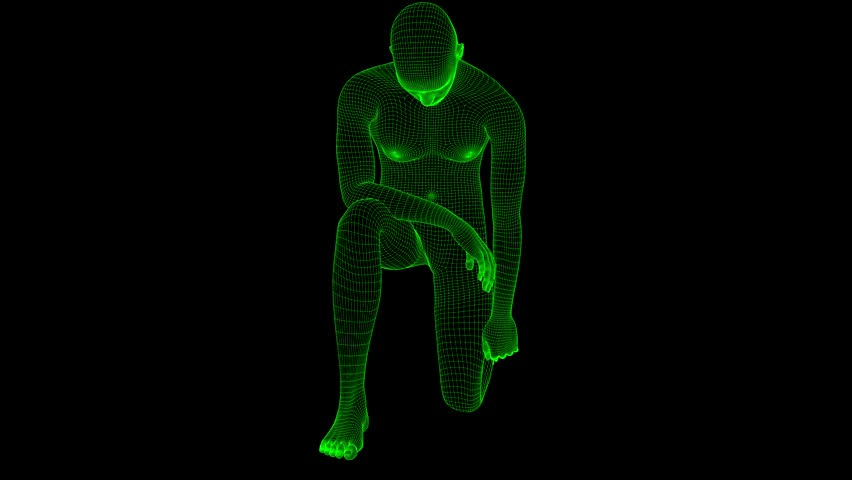 4K Futuristic Wireframe Android AI Man Knee Down Pose Seamless Loop | Shutterstock HD Video #1022139250