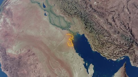 Realistic 3d animated earth showing the borders of the country Kuwait and the capital Kuwait City in 4K resolution