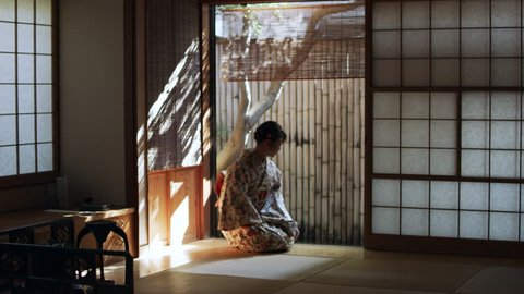 Woman in floral kimono opening a screen door, bowing, and entering a traditional Japanese room with soft day lighting. Wide shot on 4k RED camera.