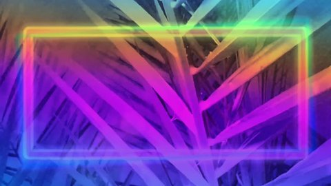 Neon glowing square template with palm tree leaves background. Glowing neon purple, blue and pink colors. Empty space for text in box of middle.