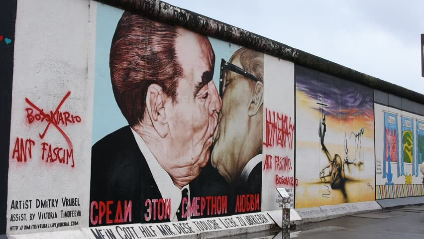 Berlin Germany 01 05 2018 The East Side Gallery is an open-air gallery in Berlin. It consists of a series of murals painted directly on a 1316 m long remnant of the Berlin Wall.