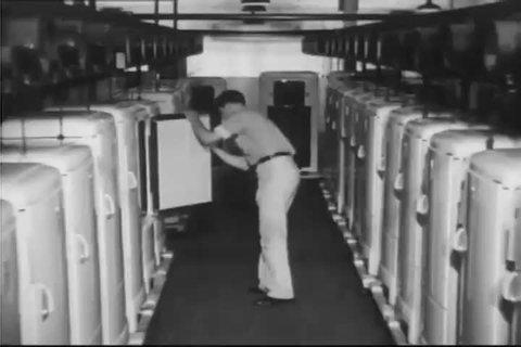 CIRCA 1930s - The 1939 Frigidaire refrigerators go through their final quality control test
