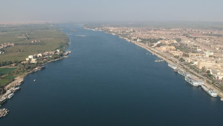Drone footage of river Nile in Egypt near Luxor