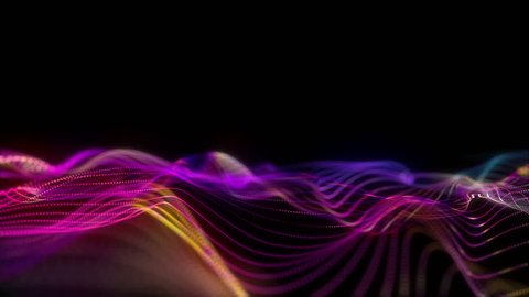 Big data wave of particles. Futuristic neon glowing surface. Abstract motion background