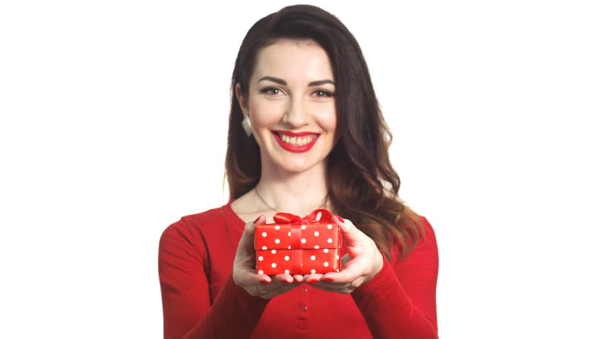 Attractive Girl in Red Clothes Gives a Gift Box for Valentine Holiday