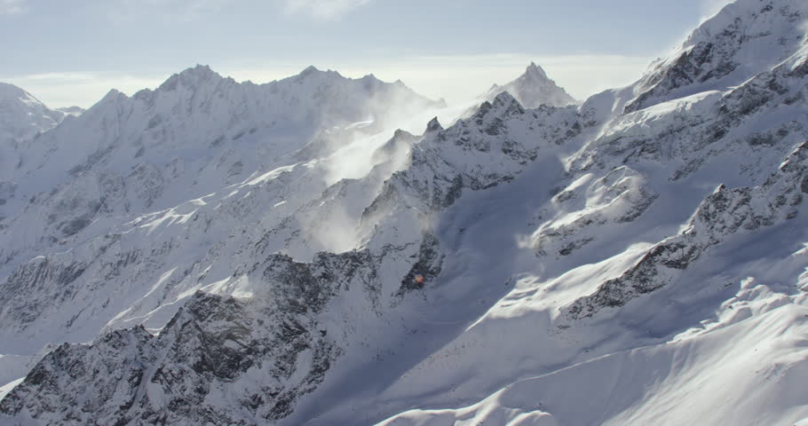 Himalayan mountains wide shot POV AERIAL View near Mount Everest of snowcapped rocky mountains in Nepal and Tibet
