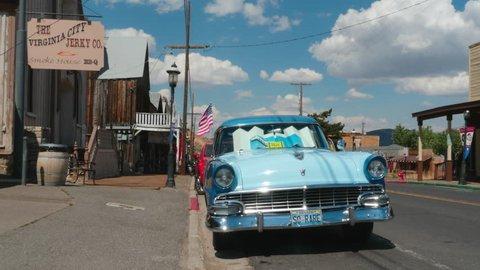 Virginia City, Nevada / USA - August 2017: Vintage car in Virgina City Main Street