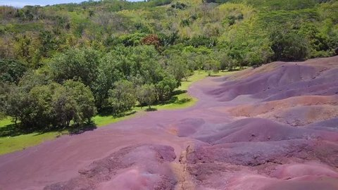 Seven Coloured Earths Chamarel Mauritius. Flight above natural phenomenon with colorful earths.