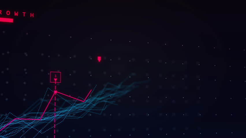 2D linear vector animation of an upward line graph showing growth and charting progress in blue and red colors. Created in 4k.