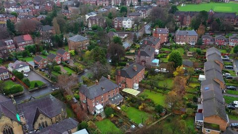 Aerial overhead view of residential neighbourhood homes in the suburbs in Birkenhead, UK
