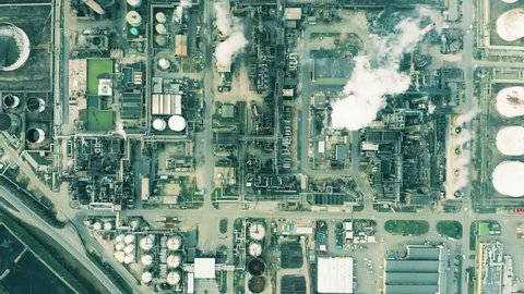 High altitude aerial top down view of big oil refinery
