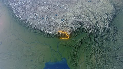 Realistic 3d animated earth showing the borders of the country Bhutan and the capital Thimphu in 4K resolution
