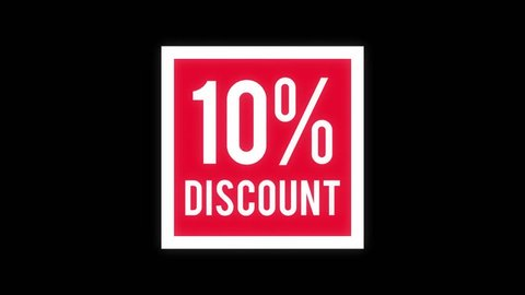10% discount 3D animation. 10 percent off