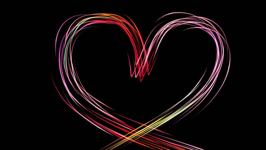 Heart With Color Stroke for Valentines Day. Animation of an elegant colorful Heart made with abstract multiple light strokes following motion path | Shutterstock HD Video #1022501530