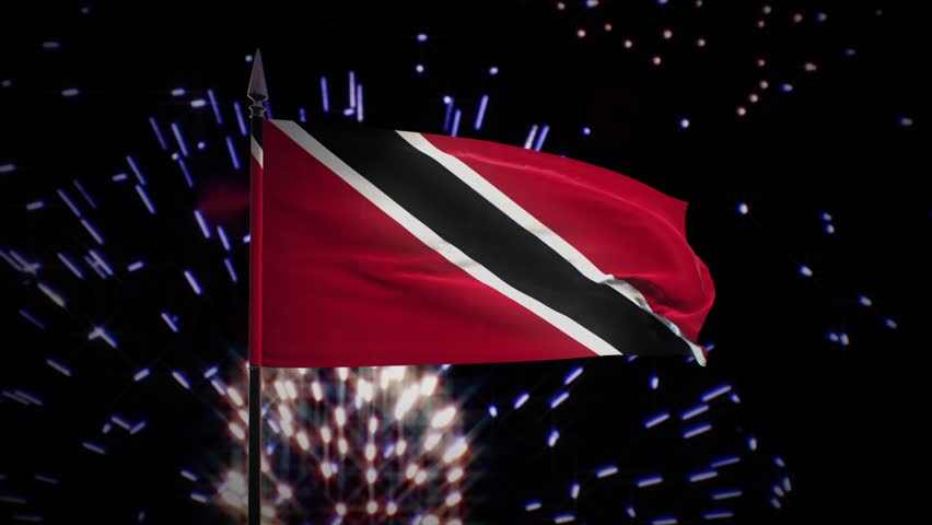 New year firework flag of Trinidad and Tobago | Shutterstock HD Video #1022546560