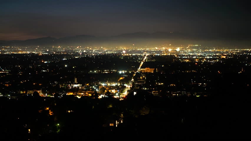 Aerial view after sunset of the amazing fireworks in The San Fernando Valley. | Shutterstock HD Video #1022560000