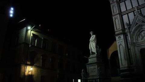 Statue of Dante in Piazza Santa Croce, Florence (Italy).