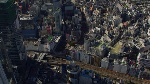 Tokyo, Japan circa-2018. Aerial view of Shibuya, Tokyo, Japan. Shot from helicopter with RED camera.