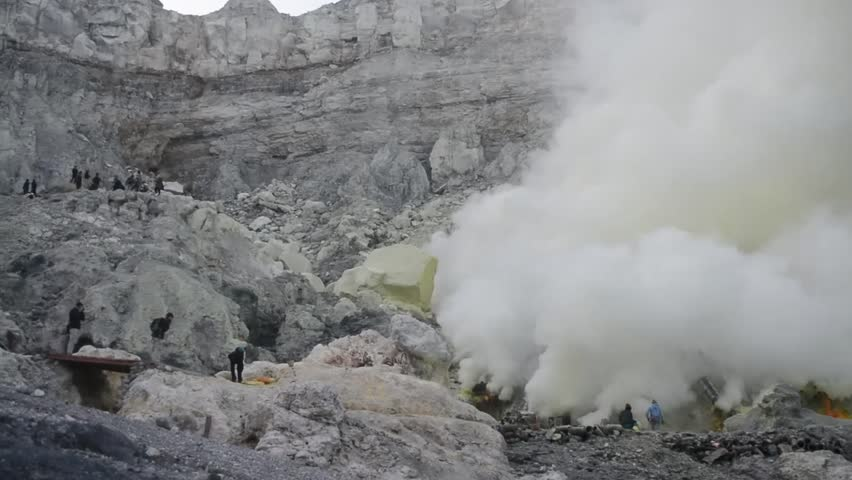 View of Mount Ijen, sulfur search workers who are mining sulfur, in Ijen crater. Indonesia   Shutterstock HD Video #1022620660