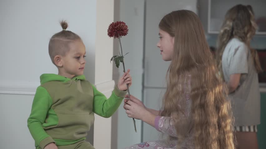 Little boy in green pajamas gives flower to his sister on the background of eldest girl gives flower to her sister. Happy hamily together