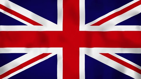 UK, United Kingdome flag on the wind, animated in 4k. Great background for motion design and animations or text. Flag calmly waving on the wind.