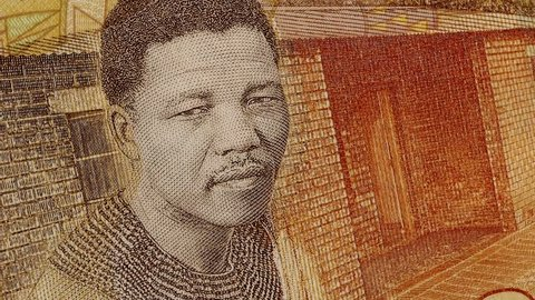 Young Nelson Mandela on South Africa 20 rand banknote slow rotating. Stock video footage