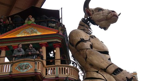 Toulouse, France - December 23, 2018 The Giant Machines including the Minotaur are creations of the French engineer François Delarozière. They are housed at the newly opened Halle de la Machine.