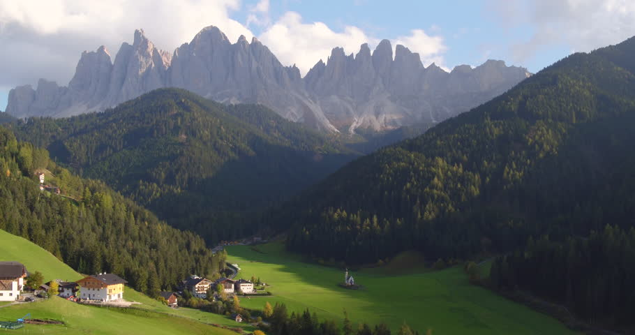 Amazing Mountain aerial view, a suggestive aerial video in mountain over a fabulous landscape in a beautiful autumn day, dolomiti.