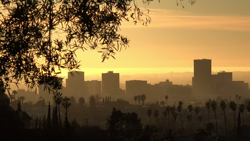 Pan across the Los Angeles/Hollywood skyline during sunset   Shutterstock HD Video #1022769580