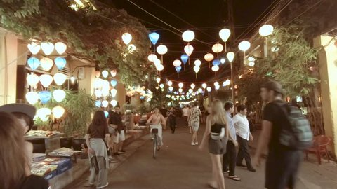 Hoi An, Vietnam - October 30, 2018: Street night view at Hoi An ancient town historic district, UNESCO world heritage site and a popular travel destination, Vietnam.