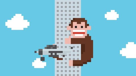Funny Cartoon Gorilla Climbing on Skyscraper Building. 4K Pixel Art Retro Game Style Animation.
