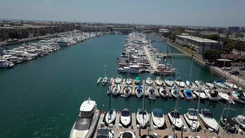 Aerial view of Marina del Rey, Los Angeles moored boats   Shutterstock HD Video #1022801920