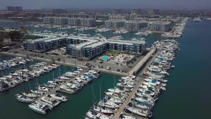 Aerial view of Marina del Rey, Los Angeles moored boats   Shutterstock HD Video #1022802610
