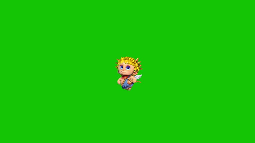 Cupid Happy Valentine's day Writes Love Green Screen 3D Rendering Animation | Shutterstock HD Video #1022820370