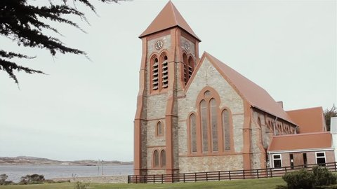 Church in Port Stanley, Falkland Islands (Malvinas). Full HD.