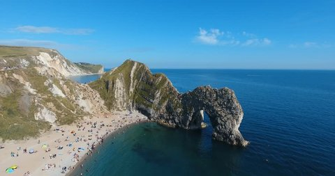 Durdle Door, Jurassic coast of Dorset, UK - conceptual footage of natural beauty, holidays and hiking.