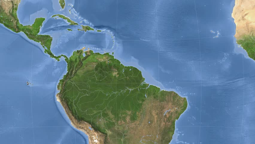 El Salvador On The Satellite Map Outlined And Glowed Elements Of