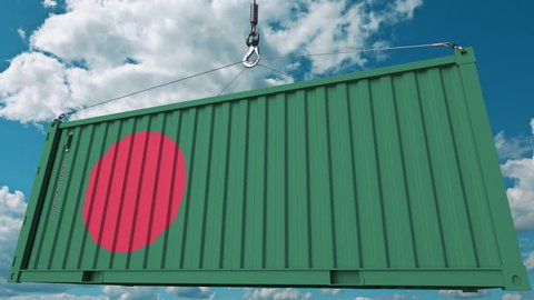 Loading cargo container with flag of Bangladesh. Bangladeshi import or export related conceptual 3D animation
