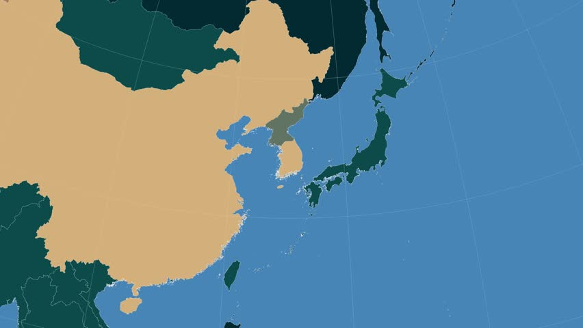 North Korea On The Administrative Map Outlined And Glowed Elements