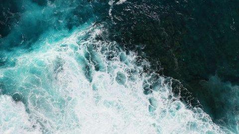 Aerial view of the sea in La Santa, Las Palmas province, Lanzarote Island, Canary Islands, Spain, Europe