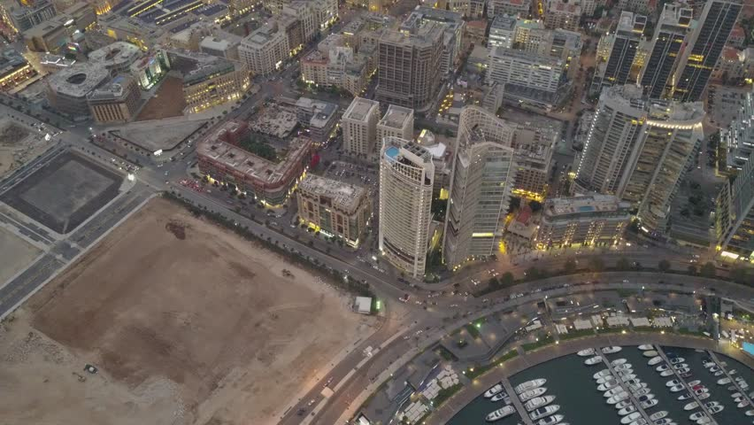Flying over Beirut bay marina and downtown. Drone aerial shot of Beirut, Lebanon, during sunset. | Shutterstock HD Video #1022918770