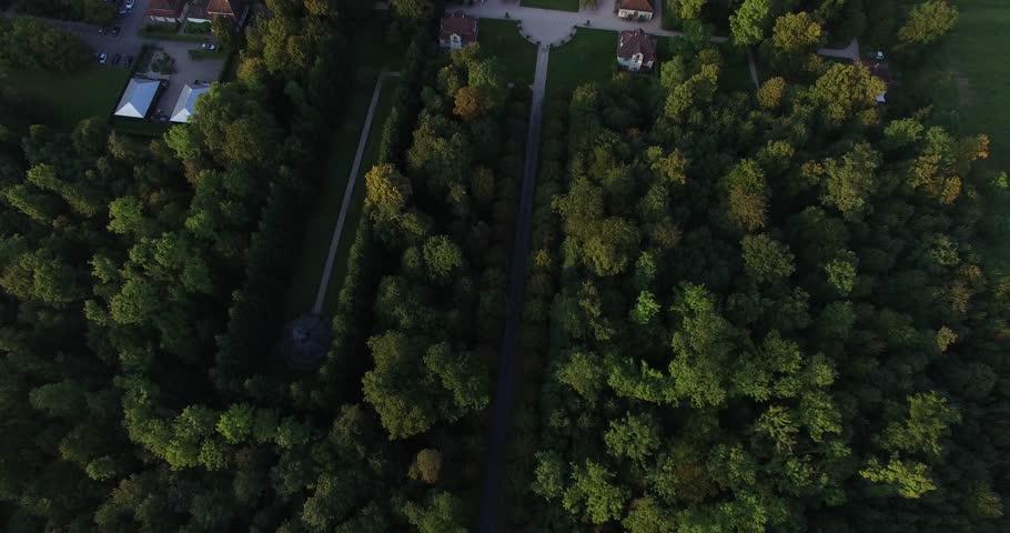 Rastatt, Baden-Württemberg, Germany Aug. 18. 2016, Schloss Favorite Rastatt high aerial flight from the back to the front   Shutterstock HD Video #1022921530